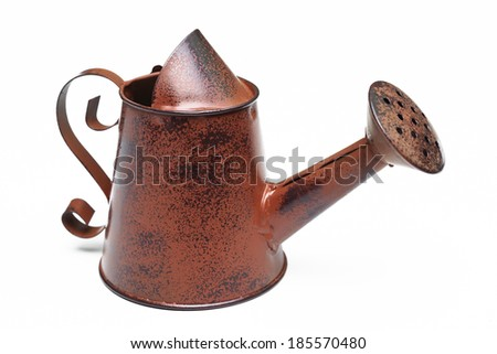 old and rusty watering can isolated - stock photo