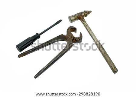 Old and used isolated tools isolated on white background.