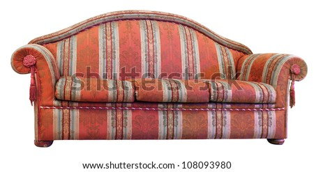 Old and very comfortable sofa colorful pattern - stock photo