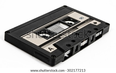 old and vintage cassette tape isolated