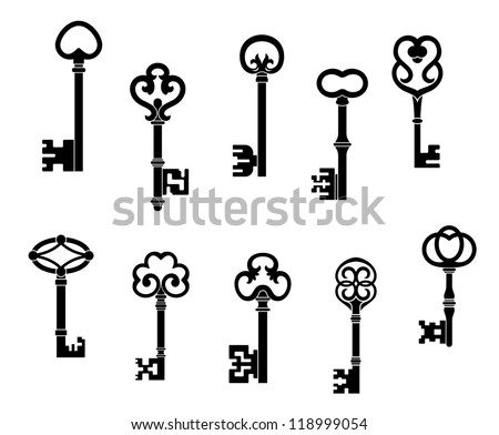 Old and vintage keys set with secret silhouettes, such a logo template. Vector version also available in gallery - stock photo