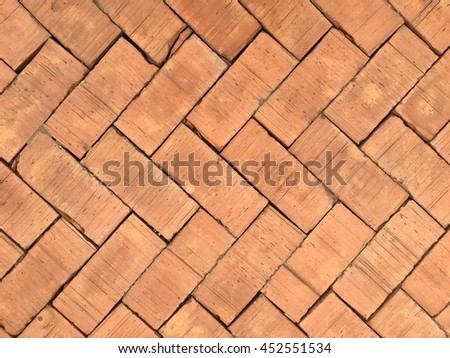 old and vintage style of brick floor texture and background in monotone