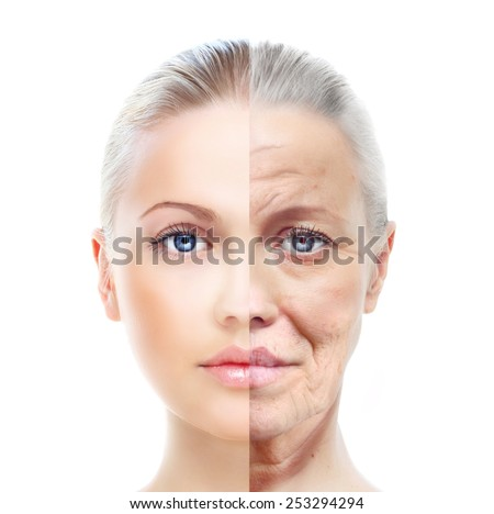 Old and young woman, isolated on white, before and after retouch, beauty treatment, aging concept. - stock photo