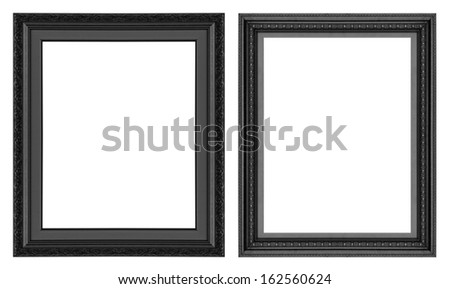 Old antique  black  picture frame wall, wallpaper, decorative objects isolated white background. - stock photo
