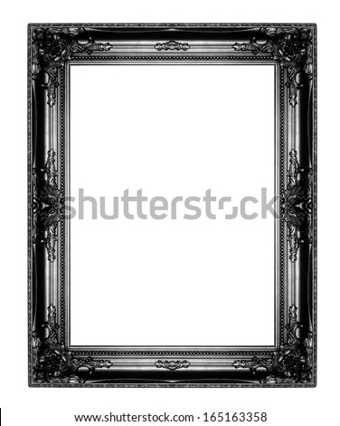 old antique black  picture frames. Isolated on white background - stock photo