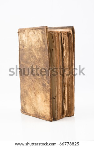 Old antique book from 1739 with leather cover isolated on white