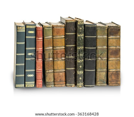 Old antique books against a white background with clipping path - stock photo