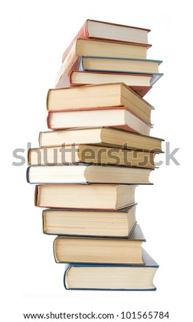 Old antique books pile isolated on white background - stock photo