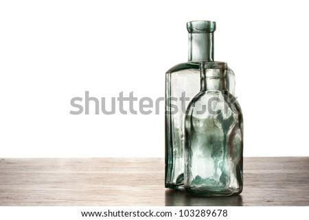 Old antique bottles - stock photo