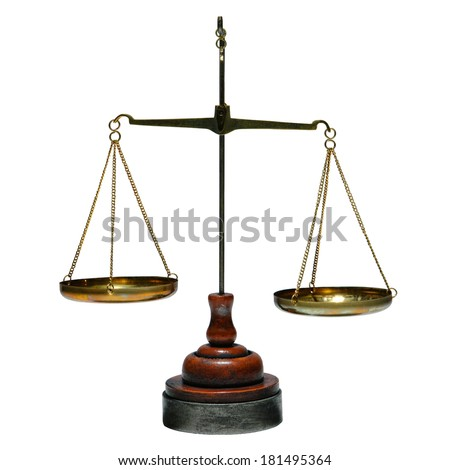 Old antique brass balance type weight measuring scale with weighing trays and wood base isolated on white - stock photo
