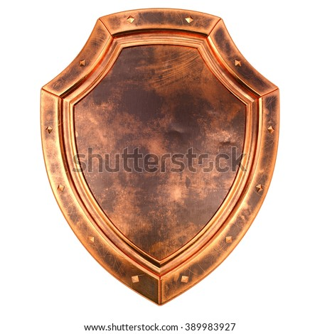 old antique bronze shield. isolated on white background.