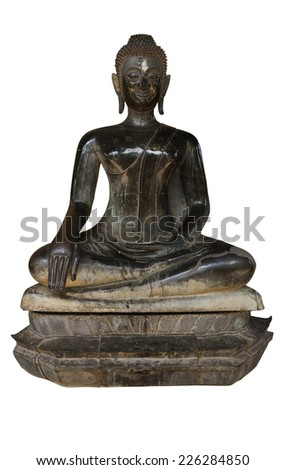 Old antique Budda in Lao style - stock photo