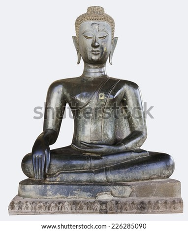 Old antique Buddha in Lao style - stock photo