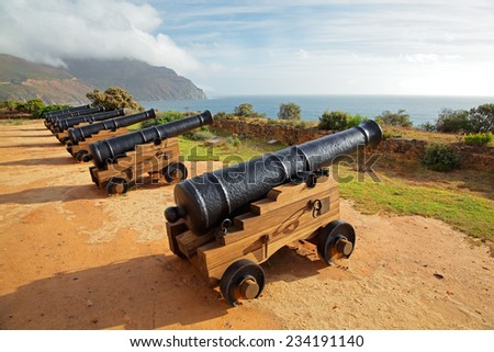 Old antique cannons at Chapmans Peak, Hout Bay near Cape Town, South Africa - stock photo