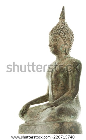 Old antique chinese budha isolated on white background - stock photo