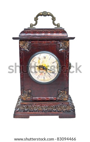 Old antique clock isolated on white - stock photo