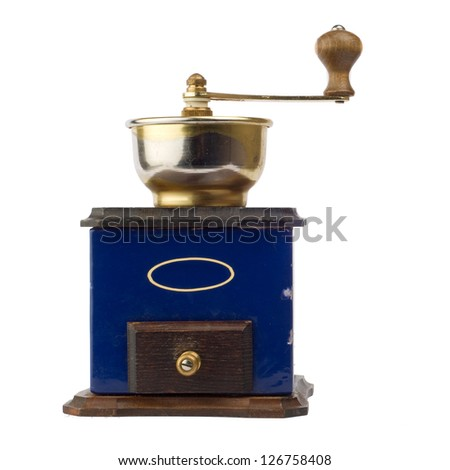 Old antique coffee grinder on white background