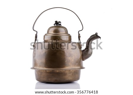 old antique copper kettle isolated on a white background - stock photo