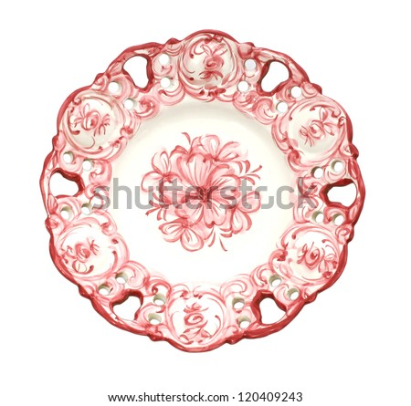 Old antique dinner plate isolated on white background