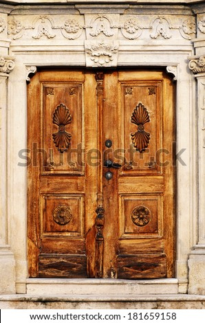 Old antique door - stock photo