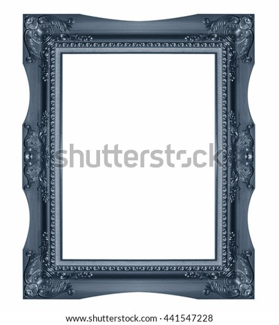 Old Antique  frame Isolated Decorative Carved Wood Stand Antique  Isolated On White Background - stock photo