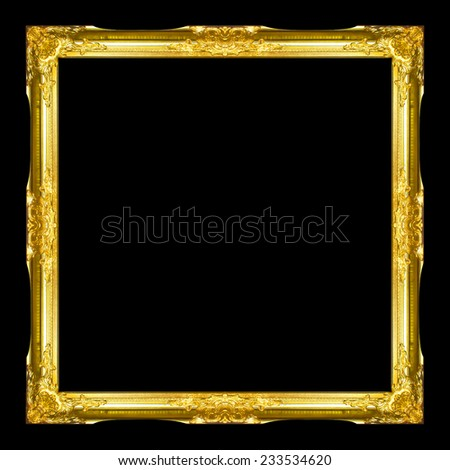 Old Antique frame Isolated on black background - stock photo