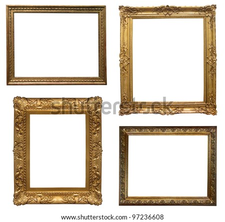 old antique frame - set of four photos - stock photo