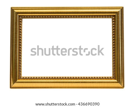 Old Antique gold frame Isolated Decorative Carved Wood Stand Antique Black Frame Isolated - stock photo