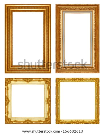 Old Antique gold  frame Isolated Decorative Carved Wood Stand Antique Black  Frame Isolated On White Background