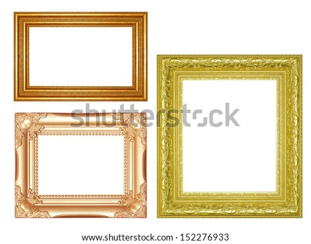 Old Antique gold  frame Isolated Decorative Carved Wood Stand Antique  Frame Isolated On White Background
