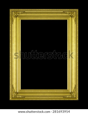 Old antique gold frame isolated on a black background. - stock photo