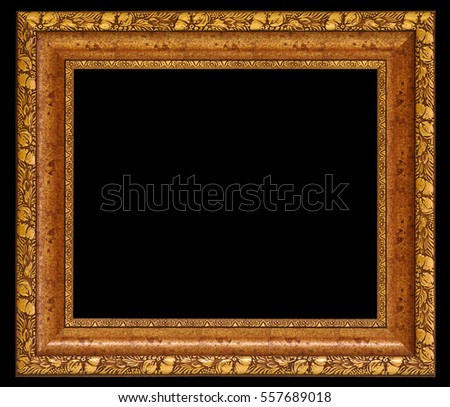 Old antique gold frame. isolated on black background with clipping path