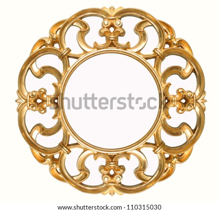 old antique gold frame isolated on white - stock photo