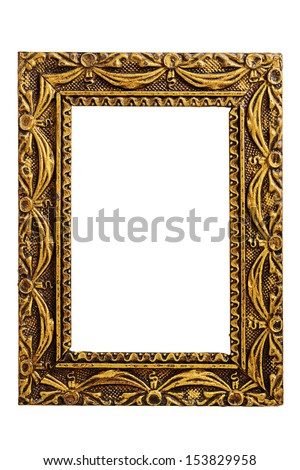 Old antique gold frame isolated on white background  - stock photo