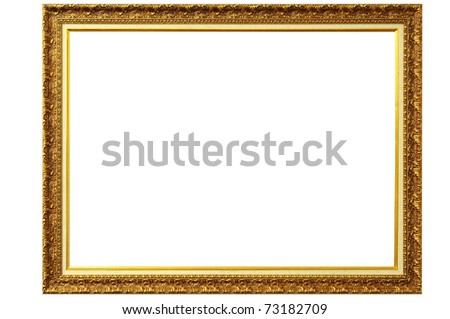 old antique gold frame over white background with clipping path - stock photo