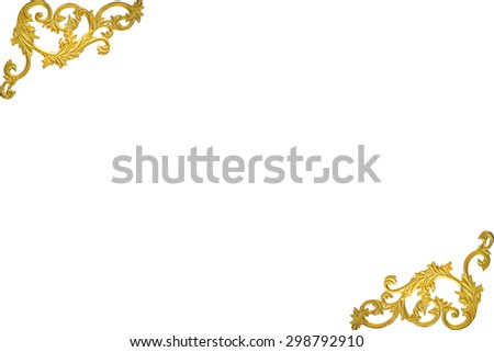 old antique gold frame Stucco walls greek culture roman vintage style pattern line design for border isolated on white background  - stock photo