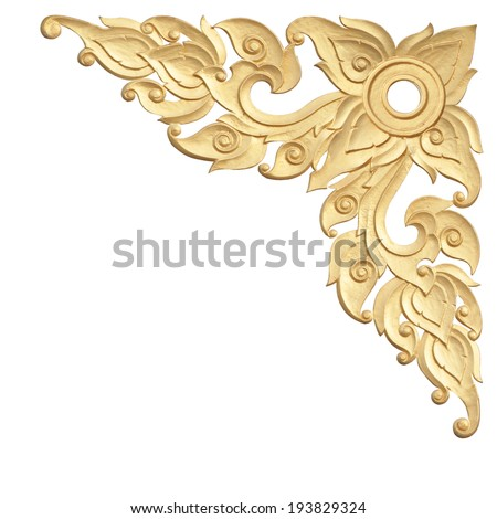old antique gold frame Stucco walls Thai style pattern isolated on white background with clipping path.  - stock photo