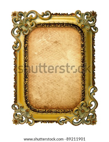 old antique gold frame with old paper over white background - stock photo