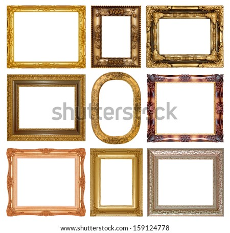 Old antique gold picture frame wall, wallpaper, decorative objects isolated white background - stock photo