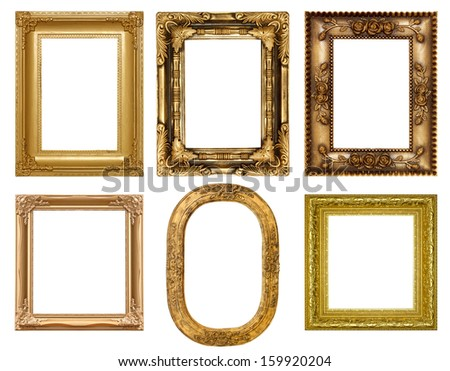 Old antique gold picture frame wall, wallpaper, decorative objects isolated white background