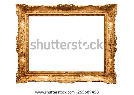 Old antique golden frame over white isolated background, beautiful vintage background  - stock photo