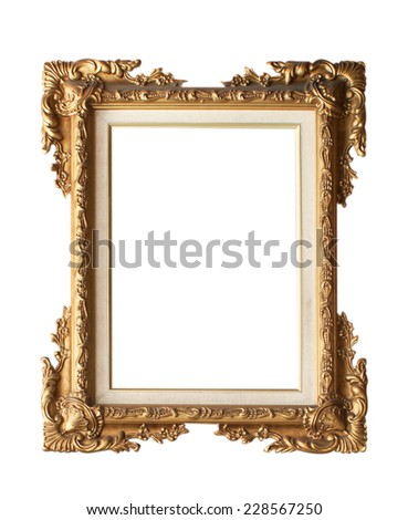Old Antique picture frame isolated on white background. - stock photo