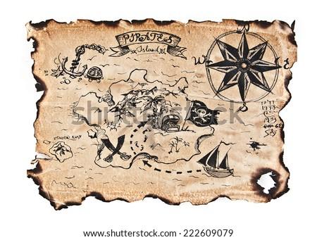 Old Antique Pirates Treasure Map