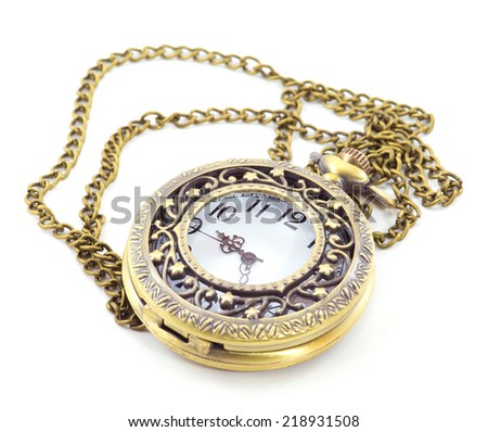 old antique pocket watch isolate on white background - stock photo