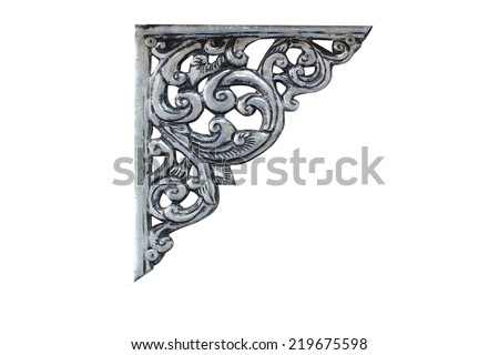 old antique silver frame corner Thai style pattern isolated on white background - stock photo
