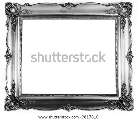 old antique silver frame over white background - stock photo