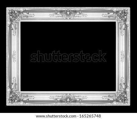 old antique silver picture frames. Isolated on black background - stock photo
