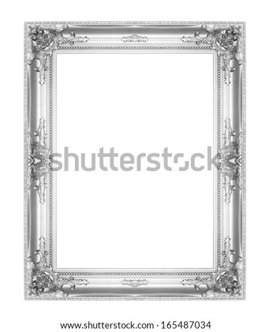 old antique silver picture frames. Isolated on white background - stock photo