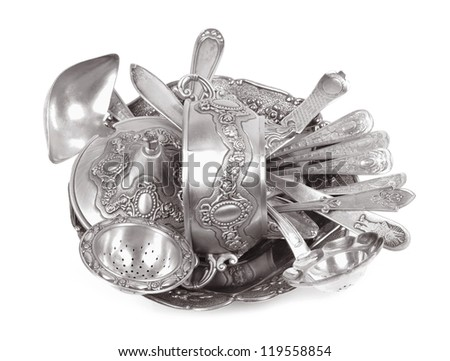 Old antique silverware, isolated white background - stock photo