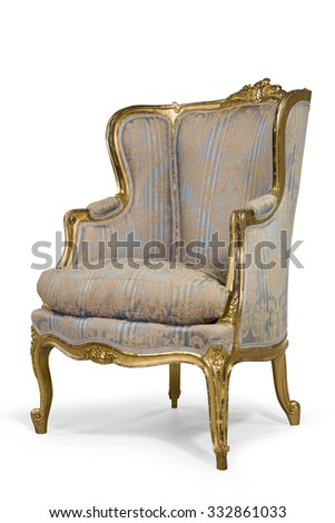 old antique upholstered original material wing arm chair gold leaf frame eighteenth to nineteenth century with clipping path